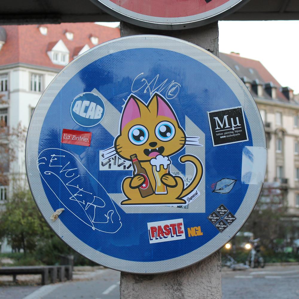 Supacat Street Art Strasbourg - Supa Beer Cat