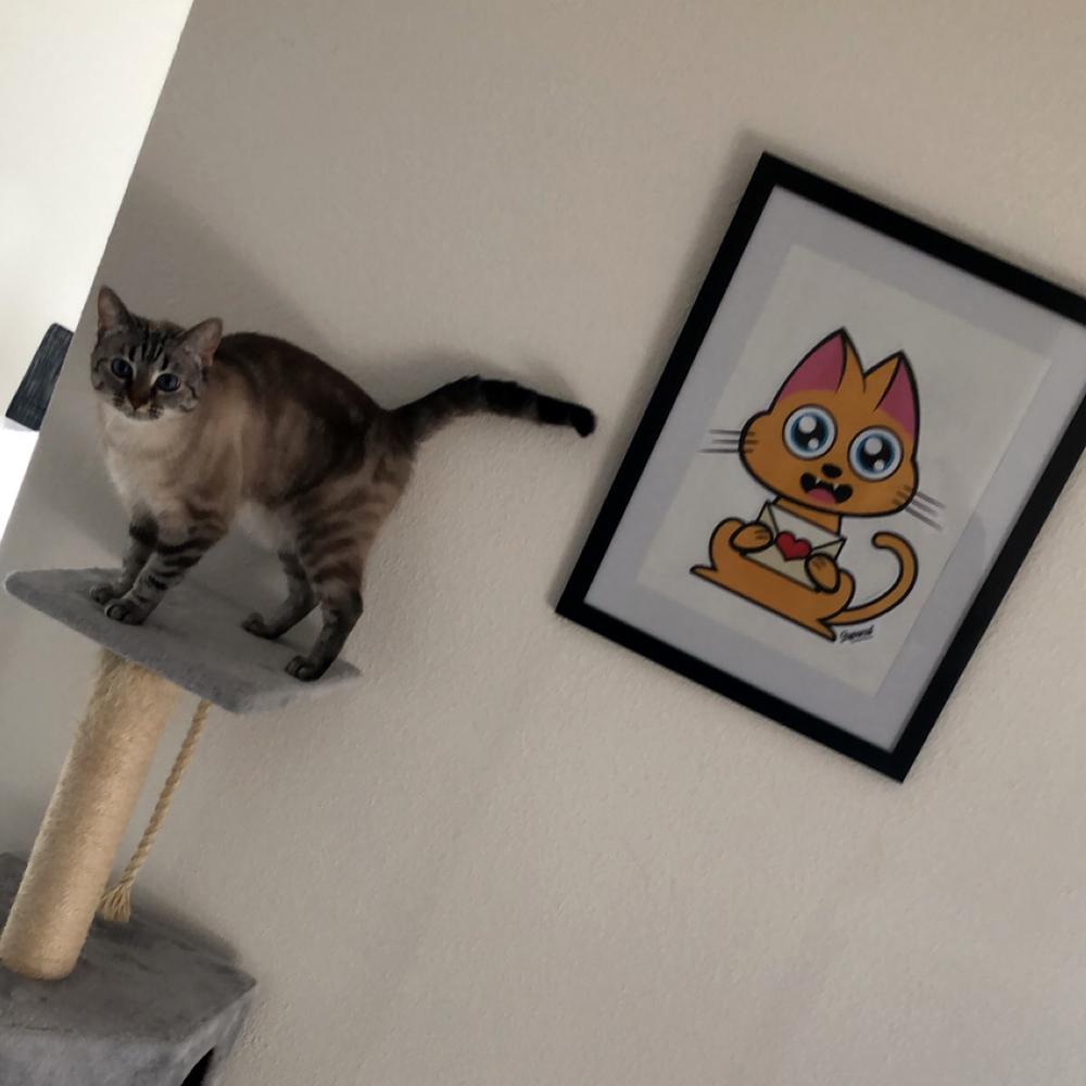 Supacat Street Art Strasbourg - Send Love Cat with Ivory