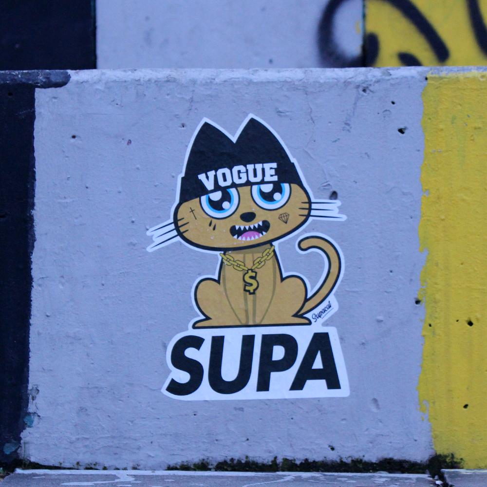 Supacat Street Art Strasbourg - Supa Gangsta Inked Cat