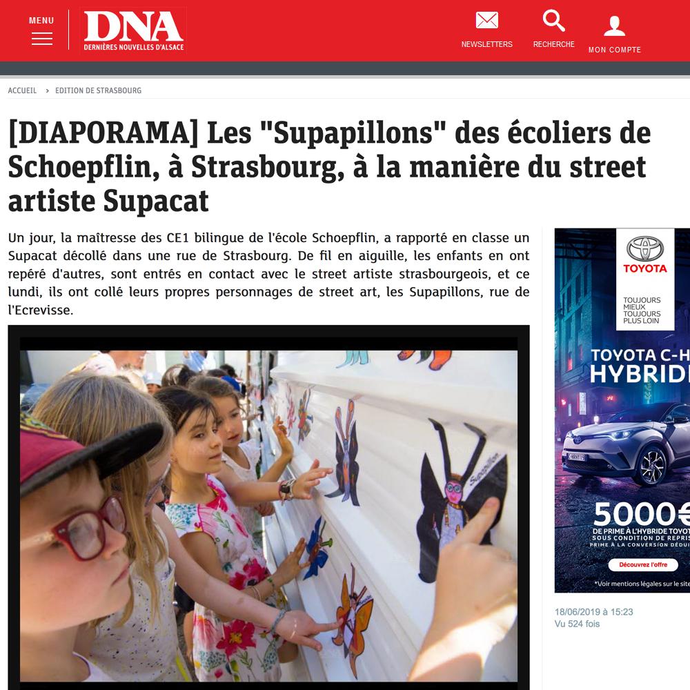 Supacat et l'école Schoepflin Strasbourg dans les DNA juin 2019 - Supacat Street Art