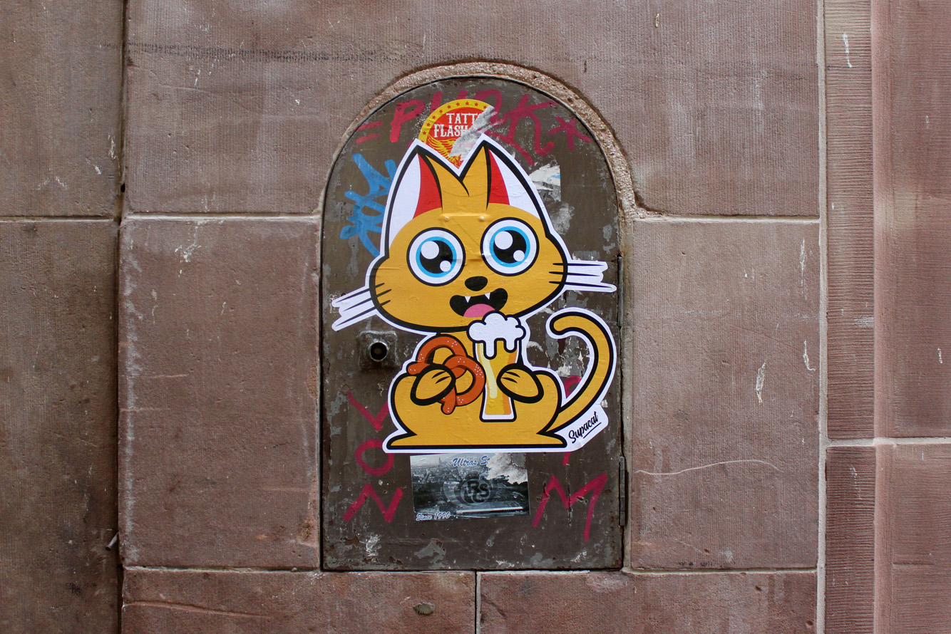 Supacat Street Art Strasbourg - Supacat Beer and Bretzel