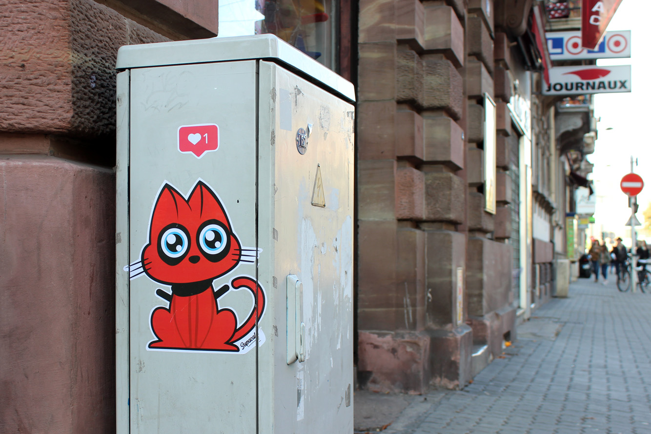 Supacat Street Art Strasbourg - Catpool Deapool