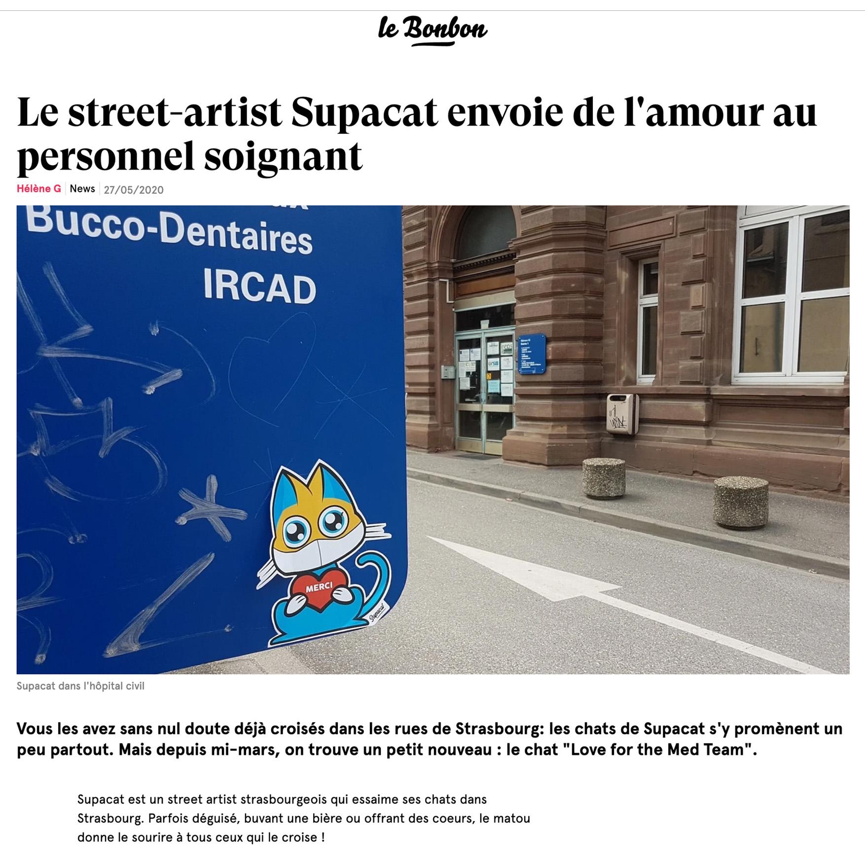 Le street-artist Supacat envoie de l'amour au personnel soignant - Supacat Street Art Strasbourg