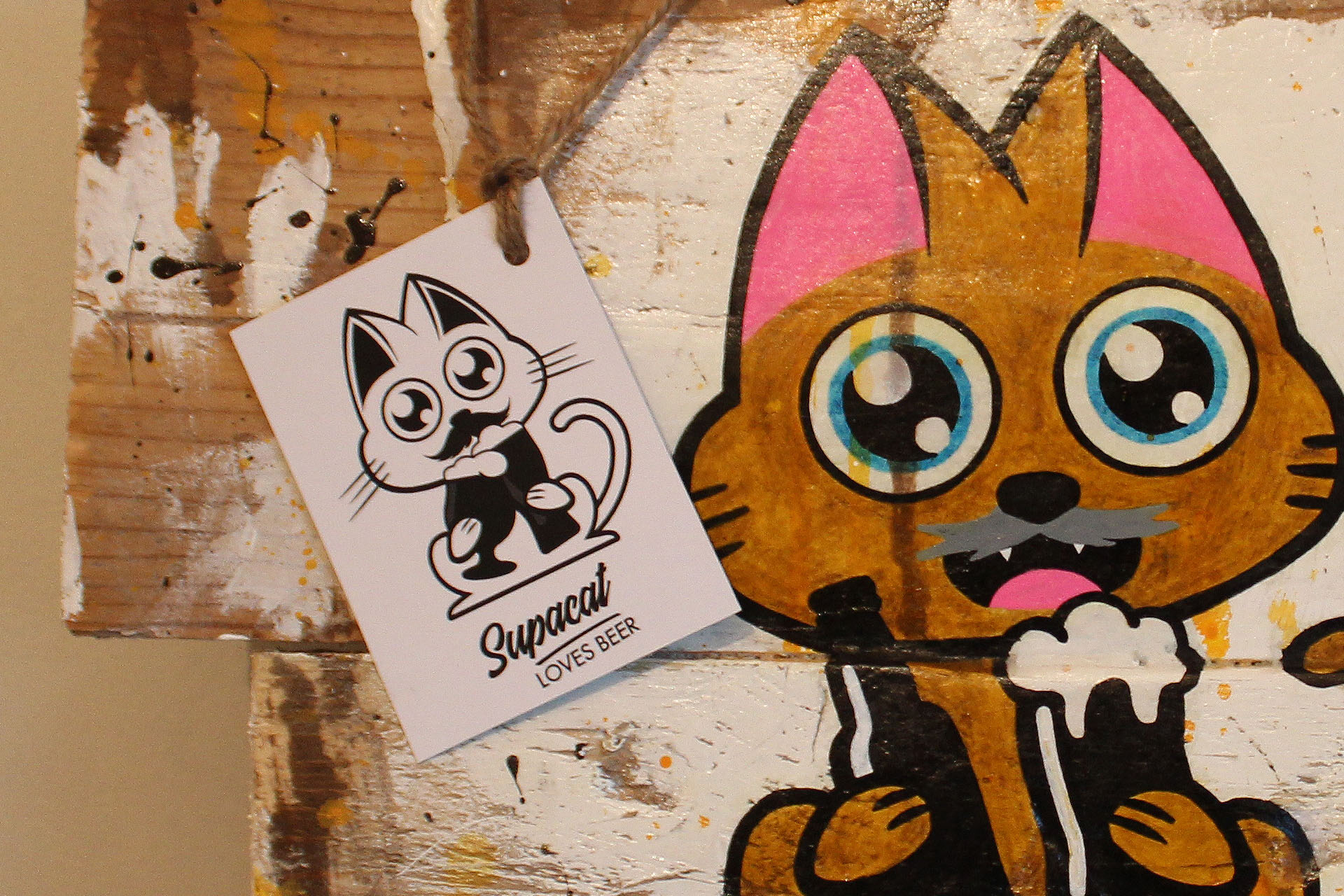 Supacat Street Art Strasbourg - Tableau Bière et Moustache