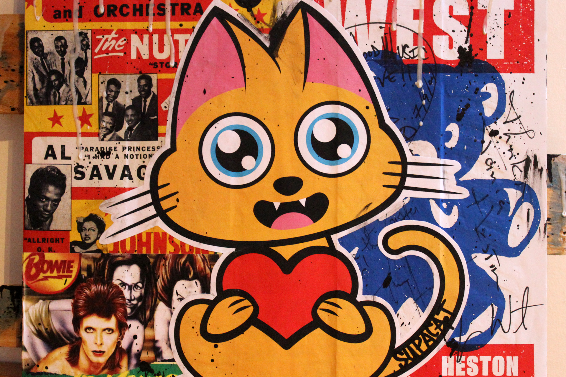 Supacat Street Art Strasbourg - The Love Cat feat. James, Kanye & David