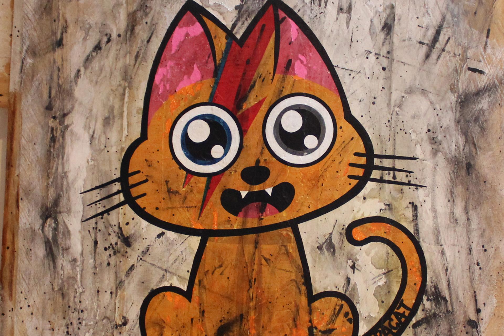 Supacat Street Art Strasbourg - Tableau Ziggy Catdust #2 - Dirty Special