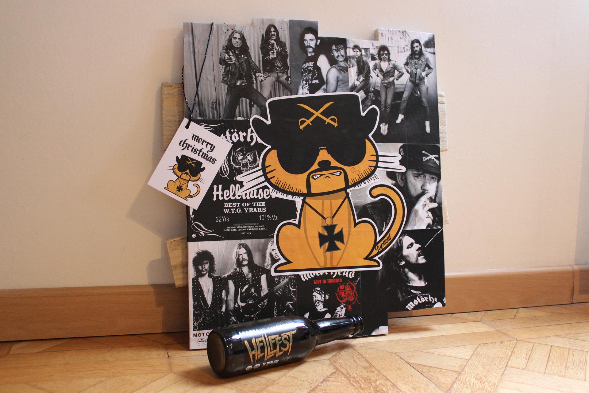 Supacat Street Art Strasbourg - Tableau Lemmy Cat - Lemmy Catmister