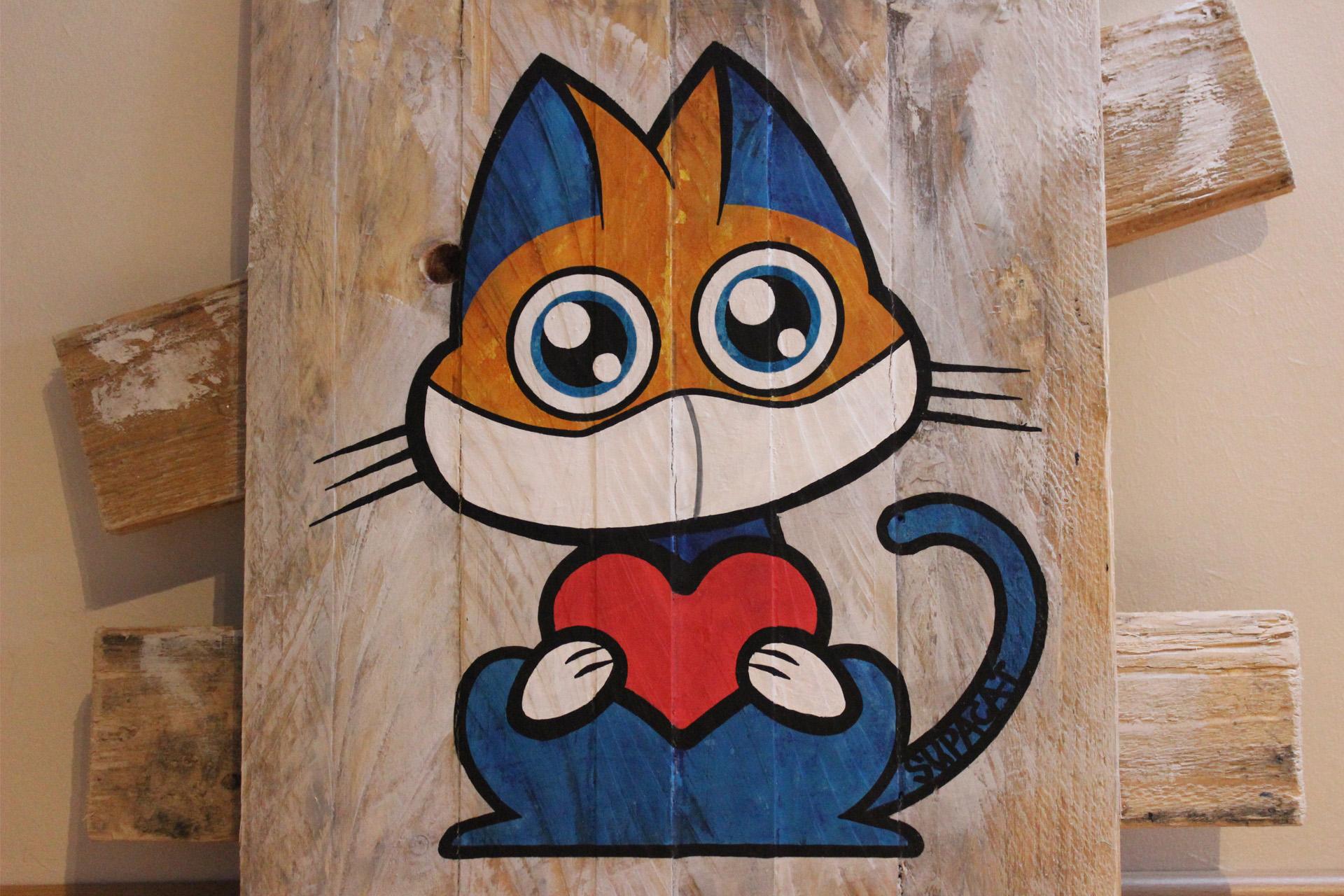 Supacat Street Art Strasbourg - Tableau Love For The Med Team #4