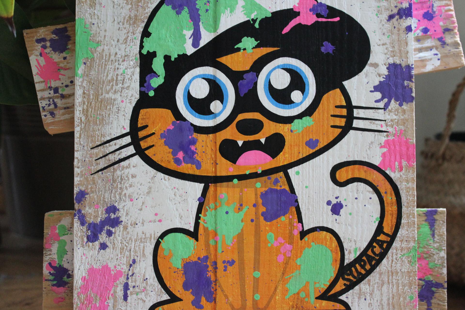 Supacat Street Art Strasbourg - Tableau Splatoon Cat Nintendo Switch