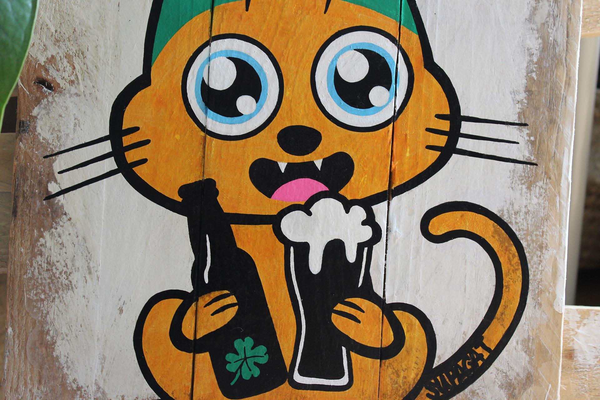 Supacat Street Art Strasbourg - Tableau Saint Patrick Cat