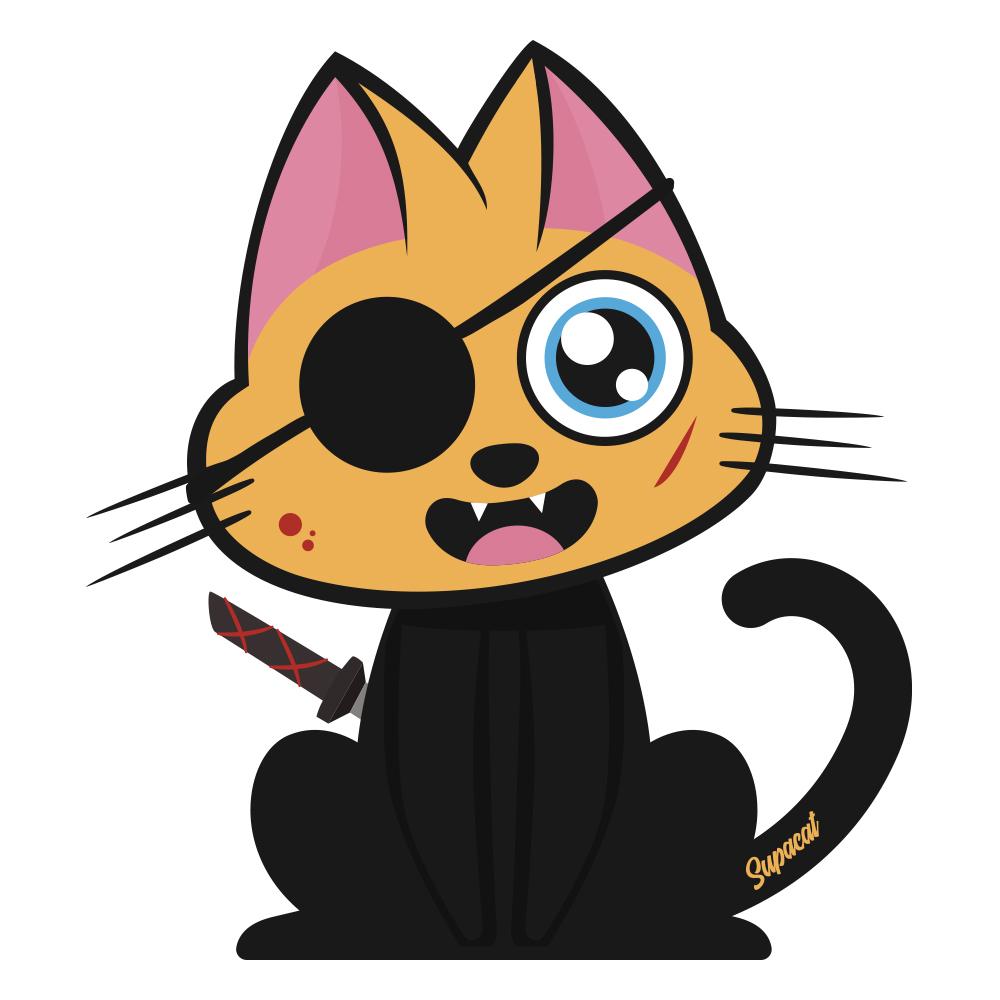 Supacat Street Art Strasbourg - Kill Bill Cat Elle Driver Cat