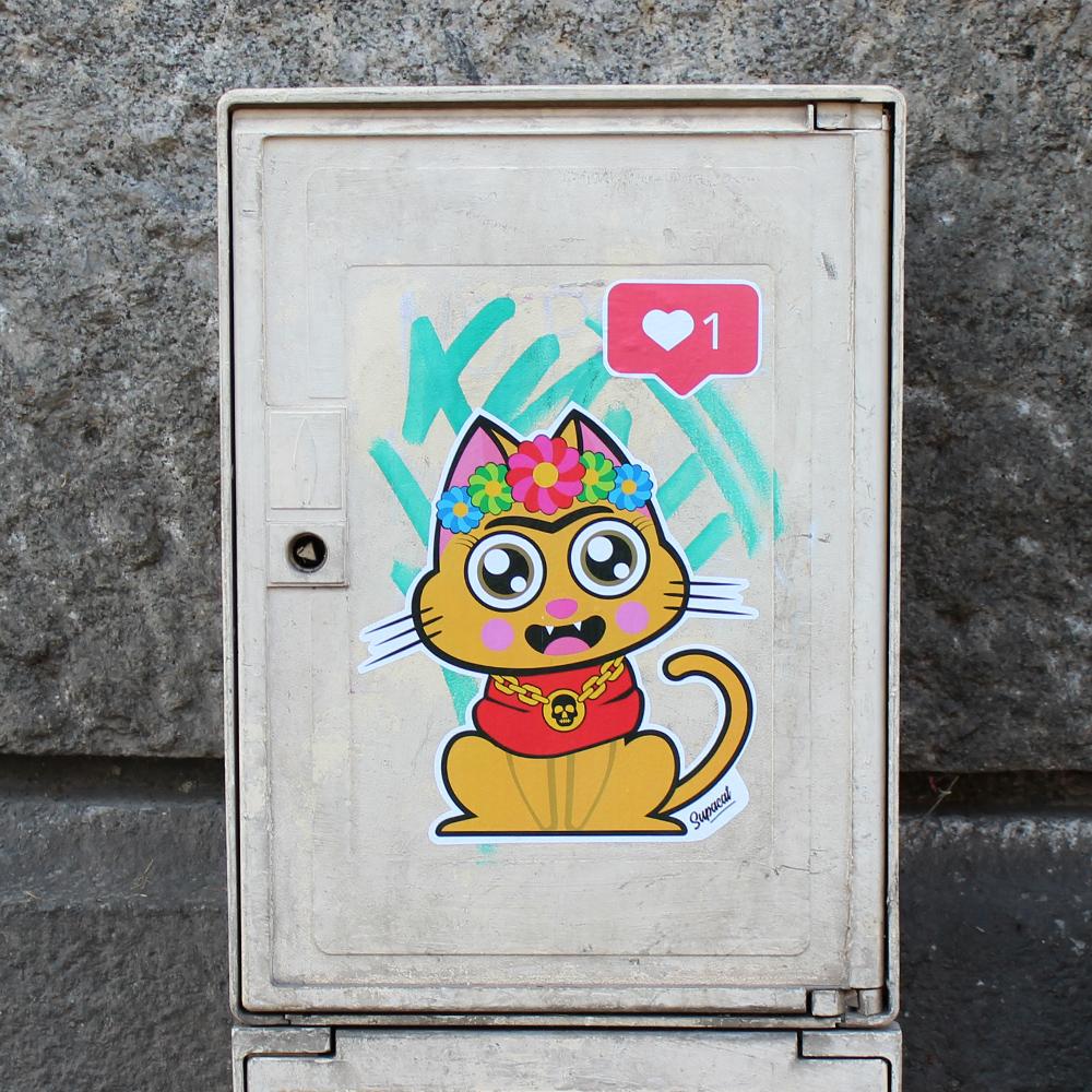 Supacat Street Art Strasbourg - Supa Kathlo Frida Kahlo Cat