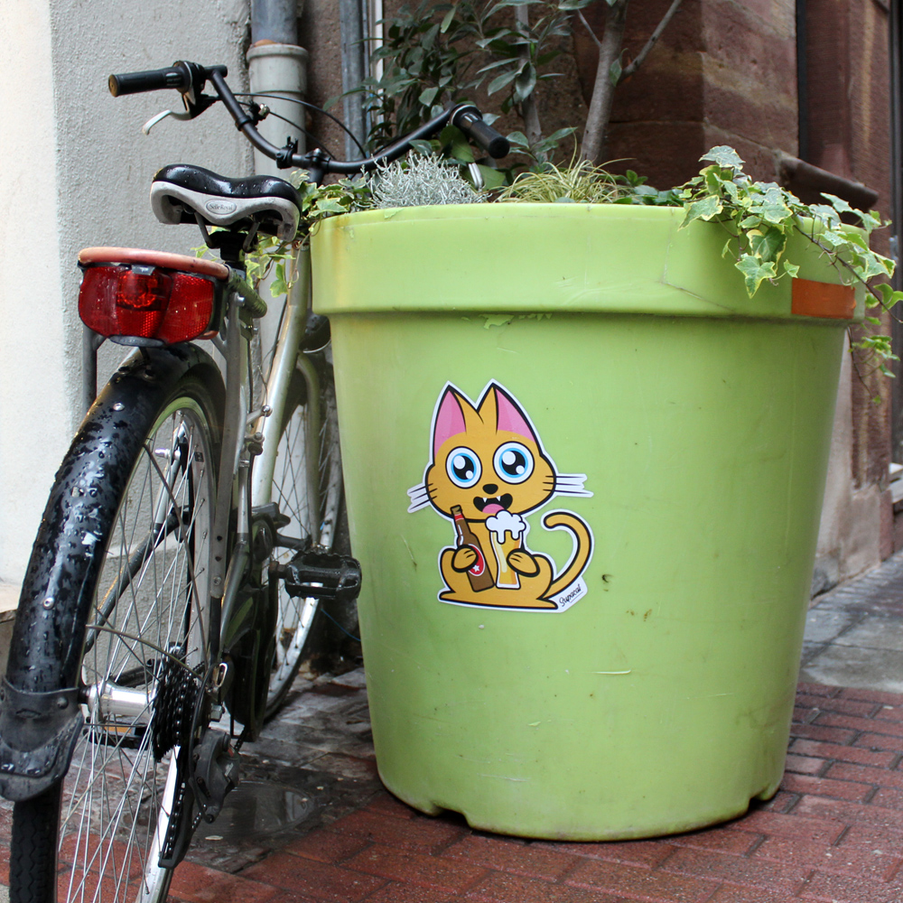 Supacat Street Art Strasbourg - Supa Beer Cat