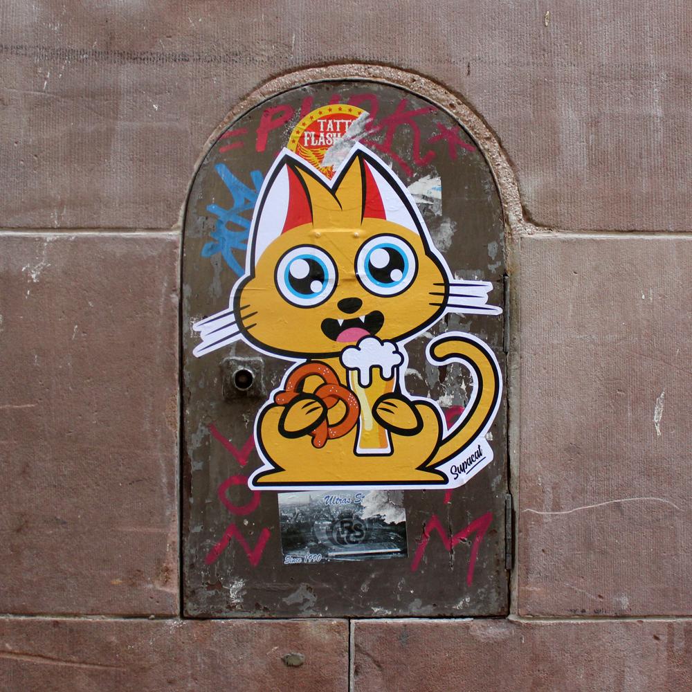 Supacat Street Art Strasbourg - Supacat Beer and Bretzel