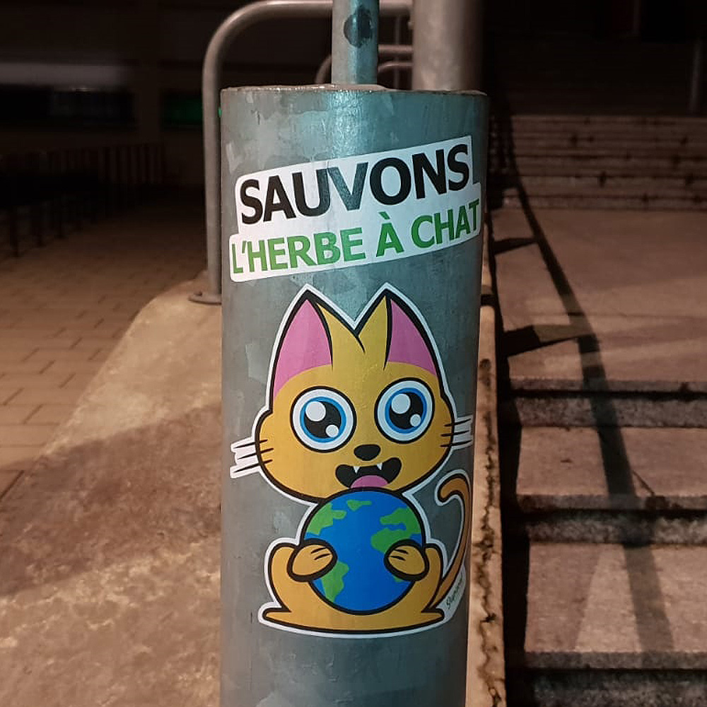 Supacat Street Art Strasbourg - Sauvons l'herbe à chat