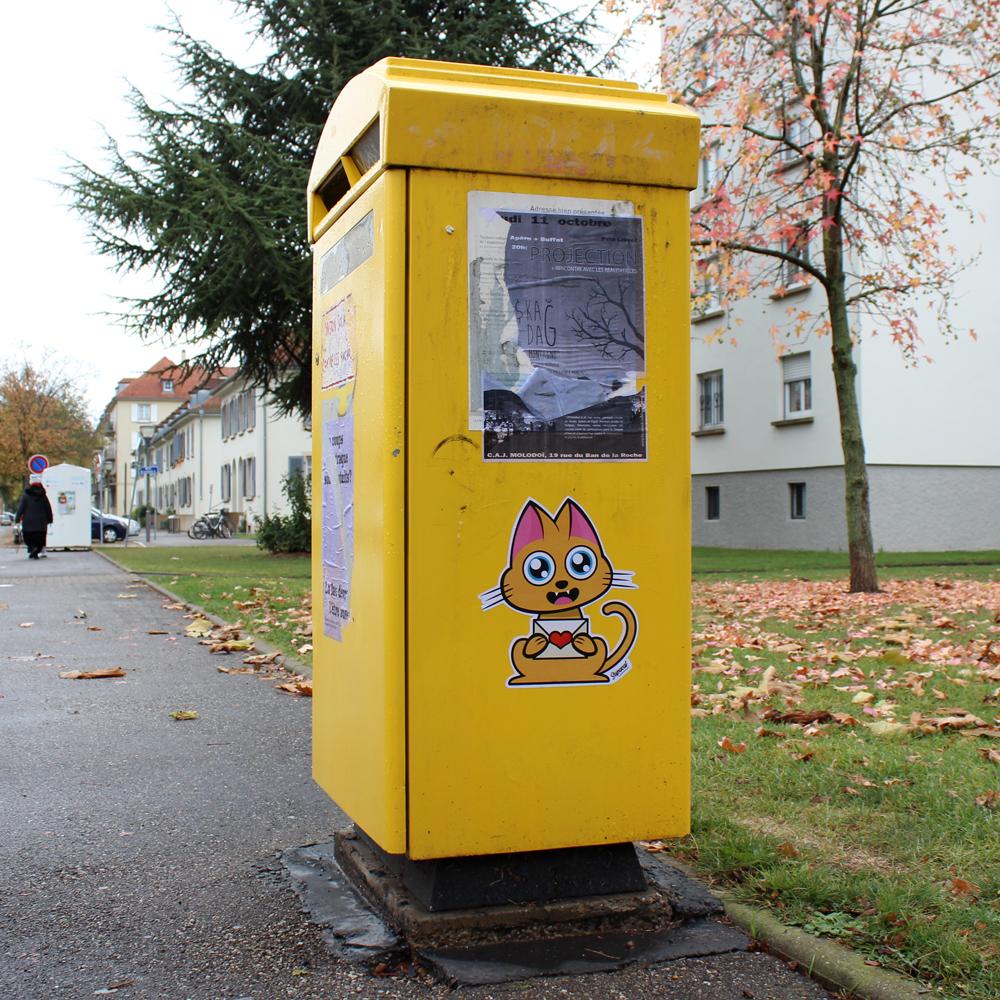 Supacat Street Art Strasbourg - Send Love Cat