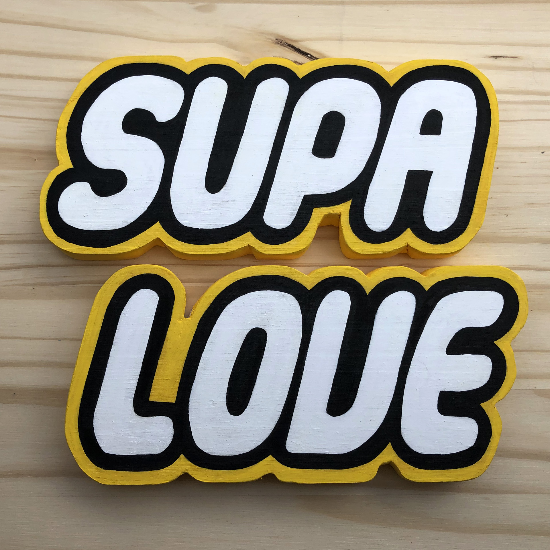 Supacat street art - Supagraff in wood