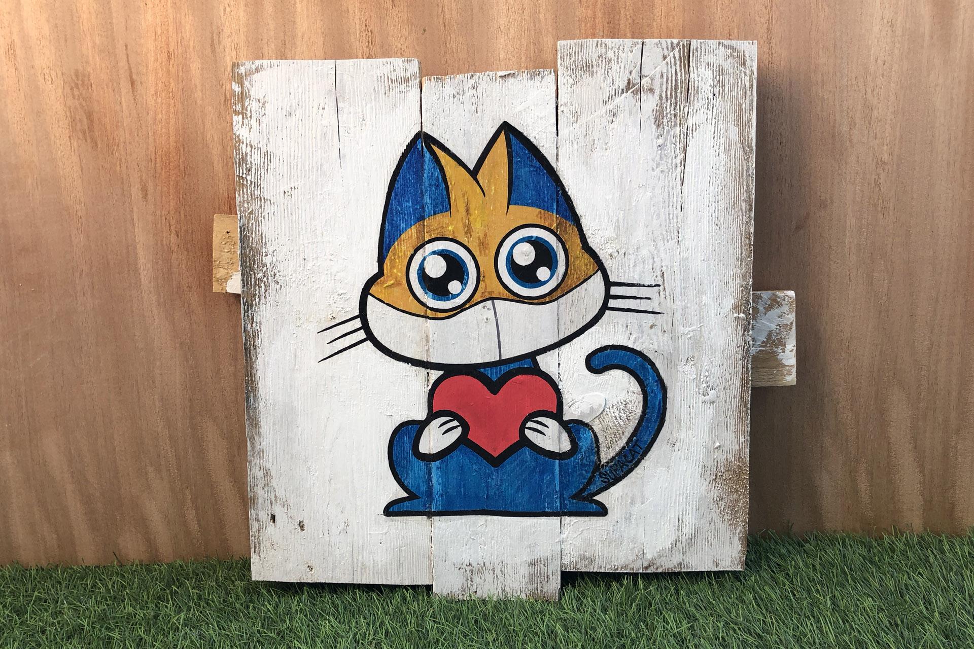 Supacat Street Art Strasbourg - Tableau Love For The Med Team