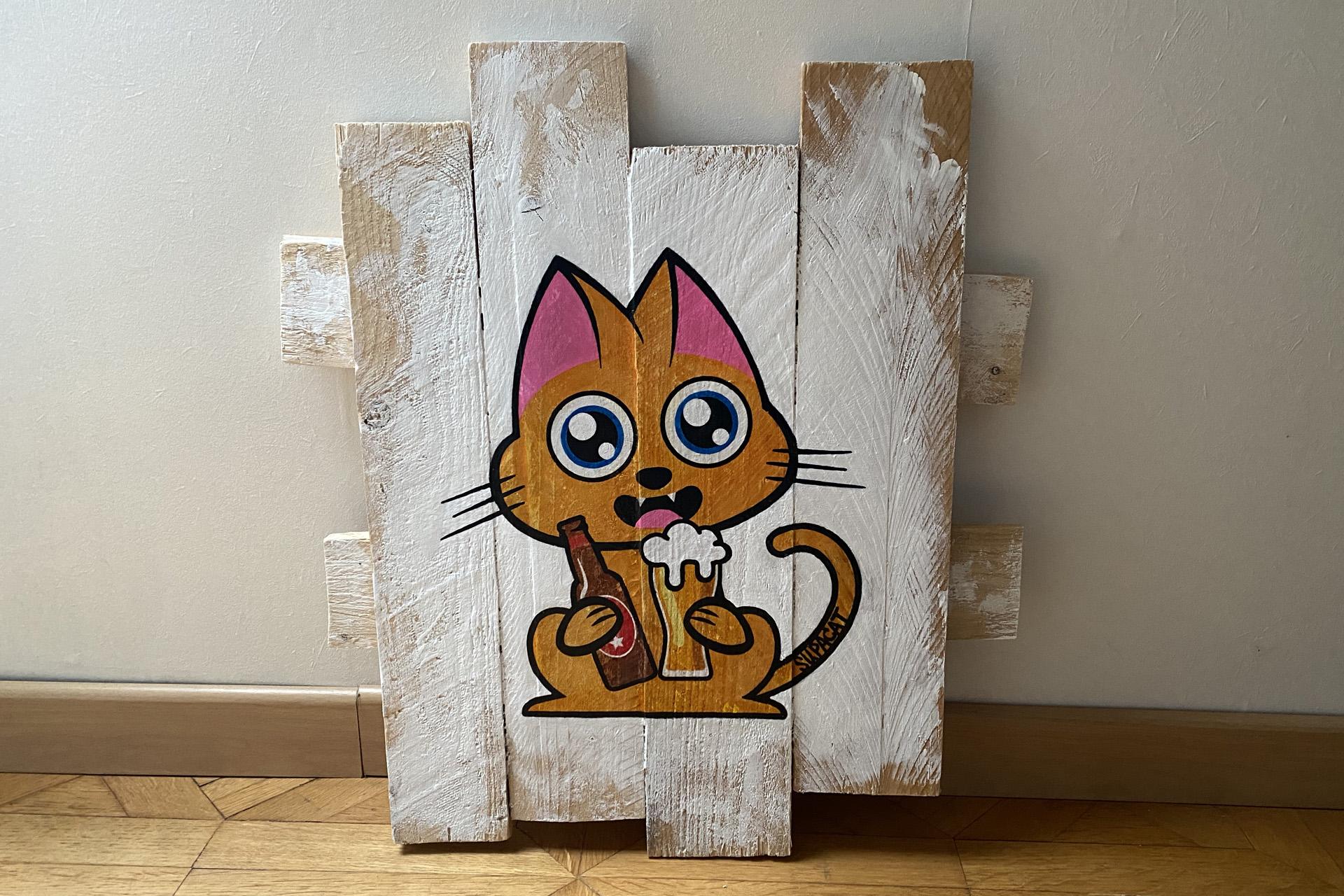 Supacat Street Art Strasbourg - Tableau Beer Cat #1