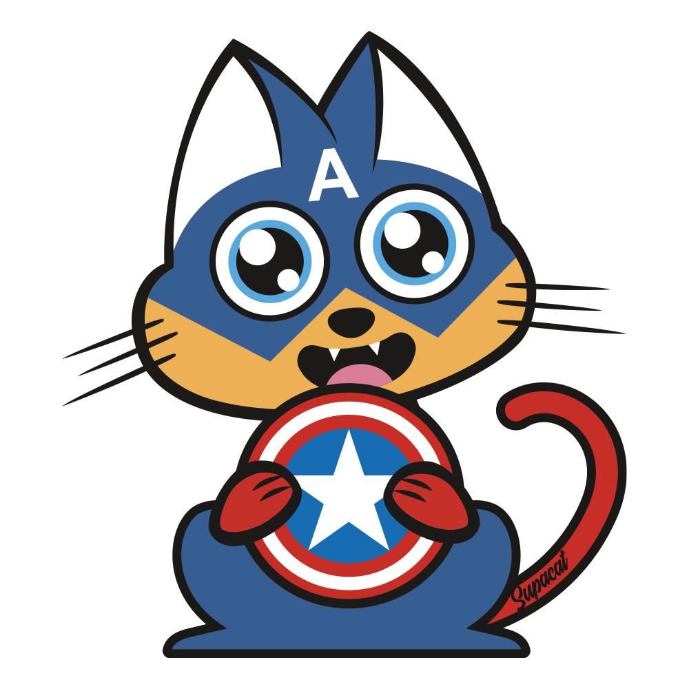 Supacat Street Art Strasbourg - Captain Americat