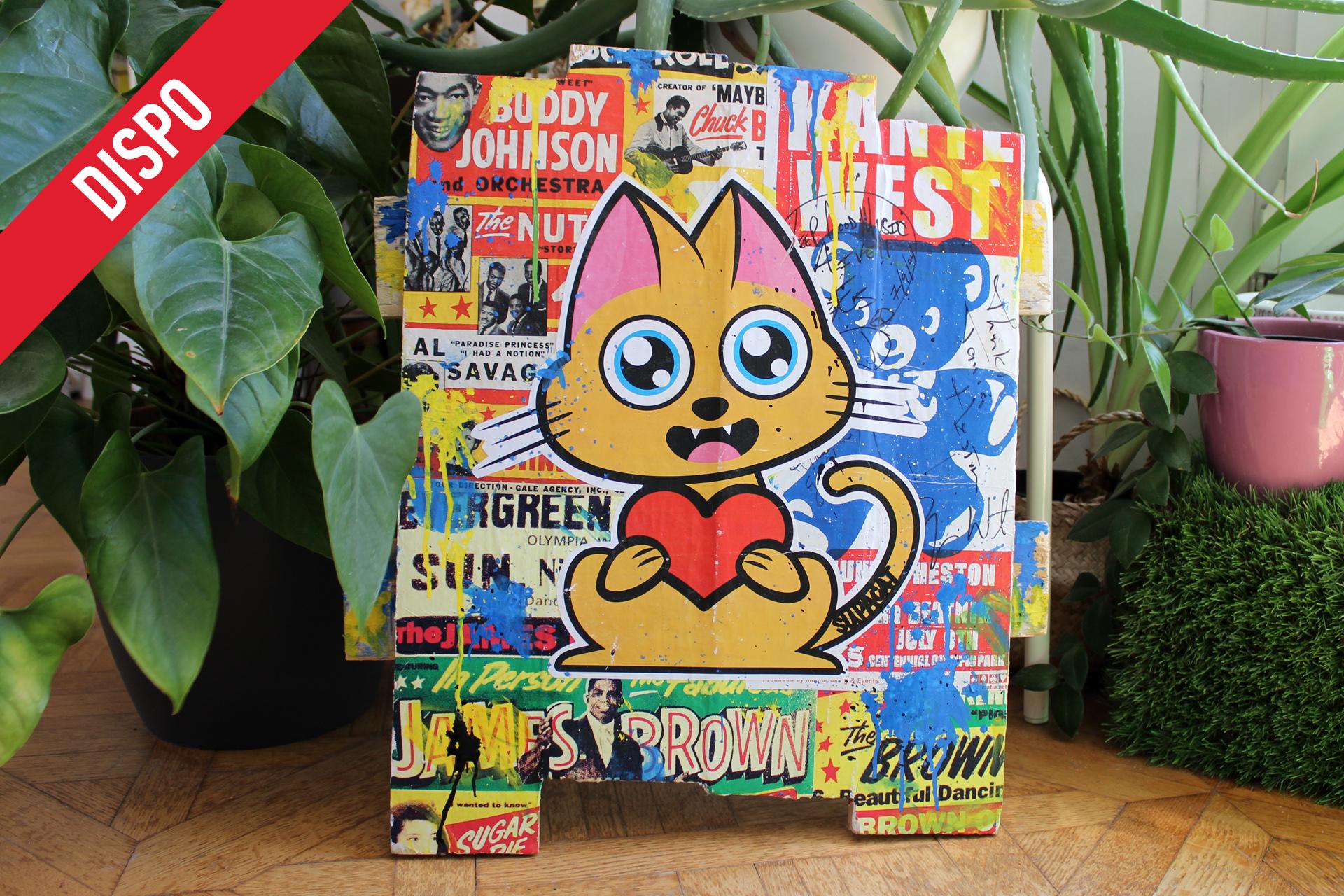 Supacat Street Art Strasbourg - Tableau The Love Cat feat Buddy, James & Kanye
