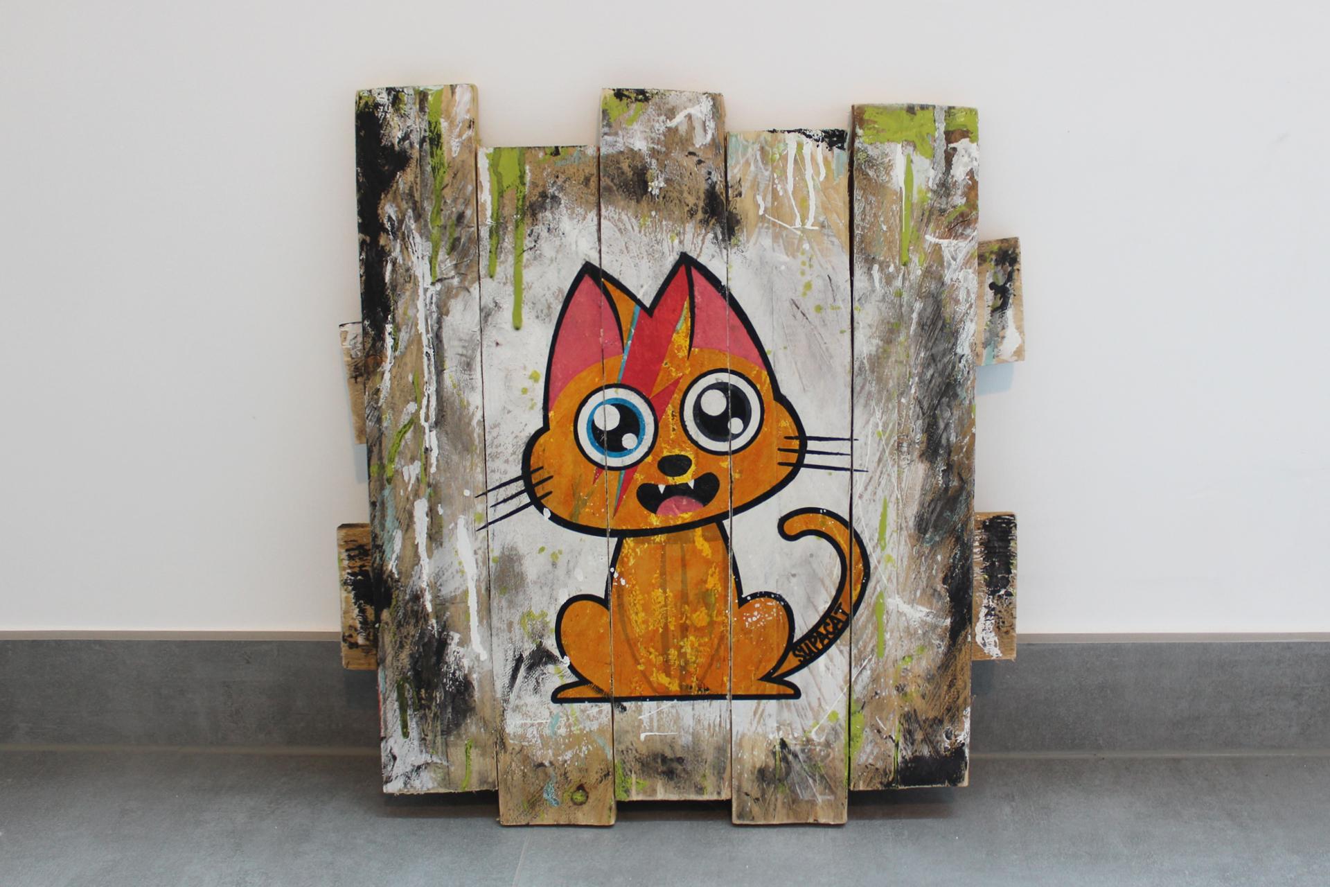 Supacat Street Art Strasbourg - Tableau Ziggy Catdust #1 - Dirty Special